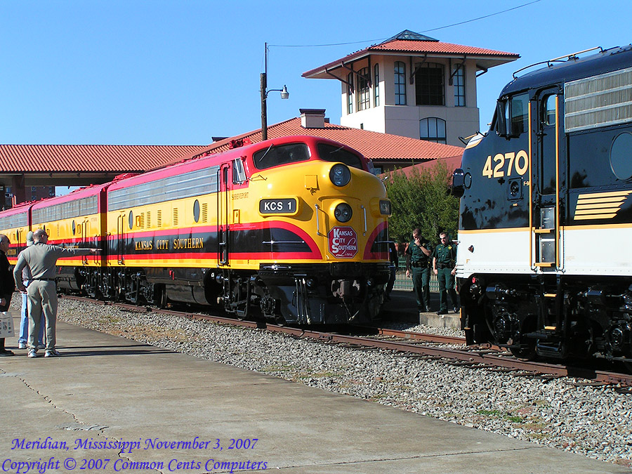 Kansas City Southern F Units KCS 1 and KCS2 and Norfolk Southern 4270 and 4271 Meridian, MS 11/2007