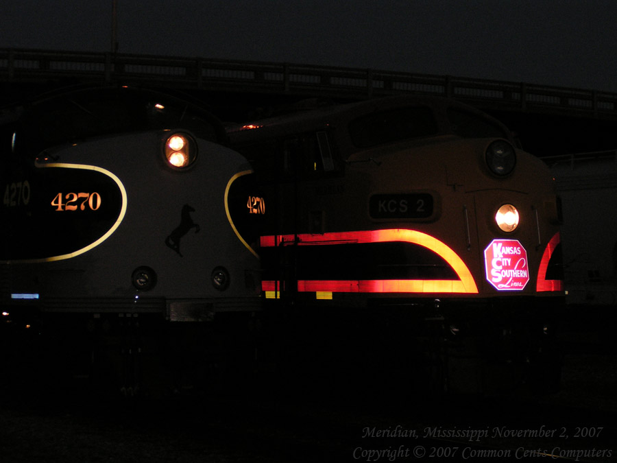 Two EMD F Units side by side Norfolk Southern 4270 Kansas City Southern KCS2 Night shot